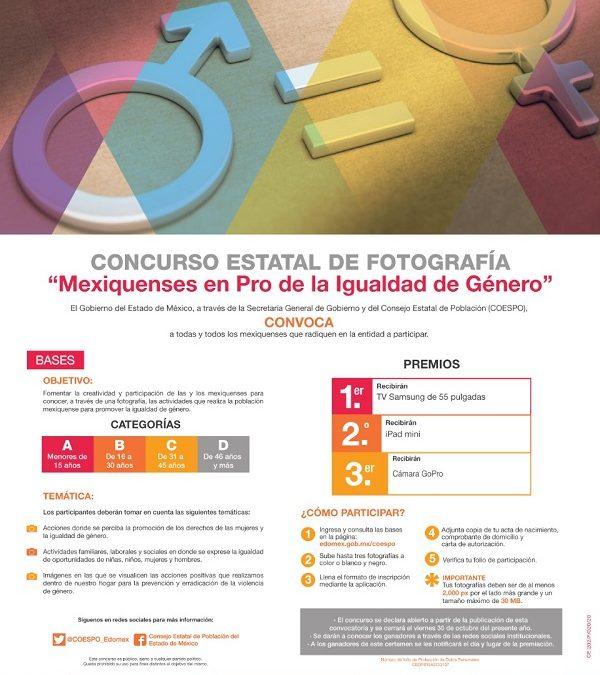 INVITA CONSEJO ESTATAL DE POBLACIÓN A PARTICIPAR EN CONCURSO ESTATAL DE FOTOGRAFÍA EN PRO DE LA IGUALDAD DE GÉNERO